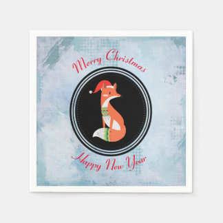 Orange Fox in Red Santa Hat Merry Christmas Paper Napkins