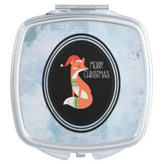 Orange Fox in Red Santa Hat Merry Christmas Vanity Mirror