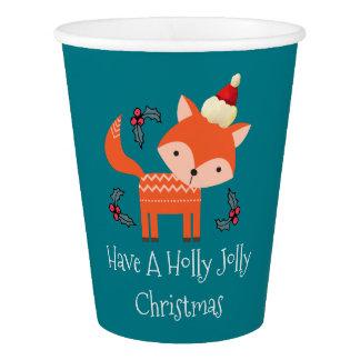 Orange Fox In Santa Hat Cute Whimsical Christmas Paper Cup