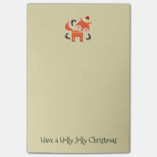 Orange Fox In Santa Hat Cute Whimsical Christmas Post-it® Notes