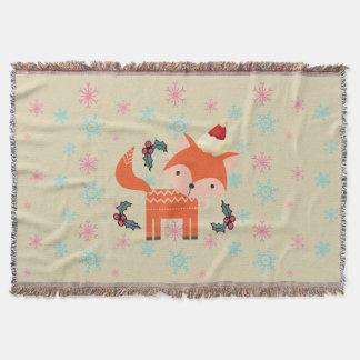 Orange Fox In Santa Hat Cute Whimsical Christmas Throw Blanket
