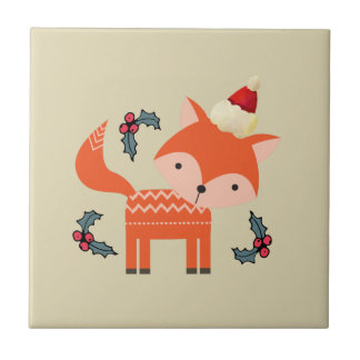 Orange Fox In Santa Hat Cute Whimsical Christmas Tiles