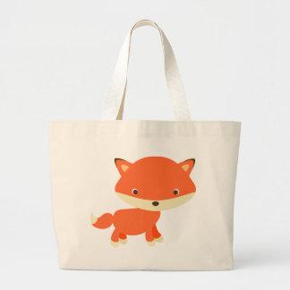 Orange fox large tote bag