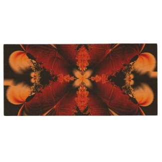 Orange Fractal Flower Wood USB 2.0 Flash Drive