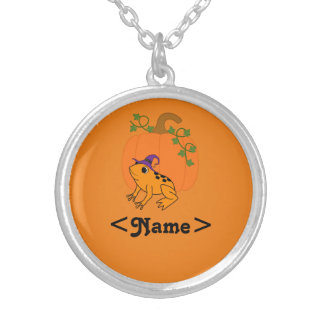 Orange Frog Witch with Halloween Pumpkin Round Pendant Necklace