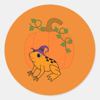 Orange Frog Witch with Halloween Pumpkin Round Sticker