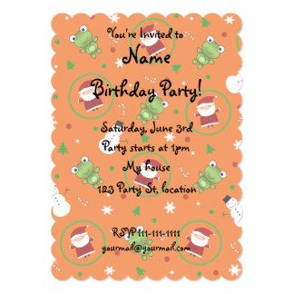 "Orange frogs santa claus snowmen 5"" x 7"" invitation card"
