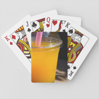Orange Fruity Bubble Tea Playing Cards