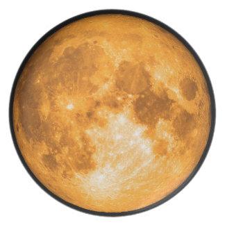 orange full moon dinner plates