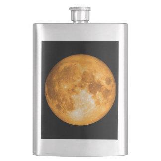 orange full moon hip flask