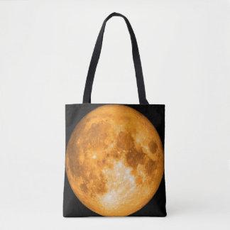 orange full moon tote bag