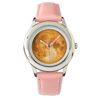 orange full moon wrist watch