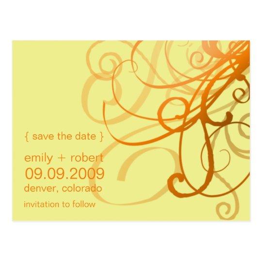 Orange Funky Swirls • Save the Date Postcard
