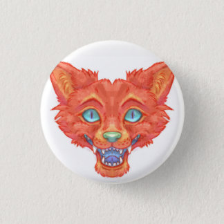 Orange Furry Wolf Face 1 Inch Round Button