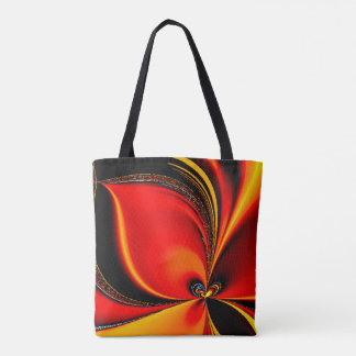 Orange Fury Fractal Tote Bag