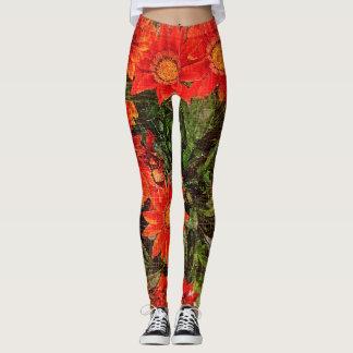 Orange Gazania Daisy Flowers Leggings