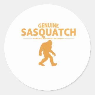 Orange Genuine Sasquatch Round Sticker