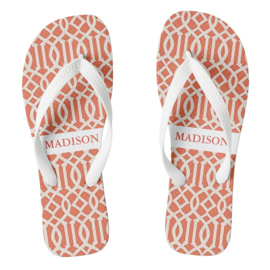 Orange Geometric Pattern Flip Flops