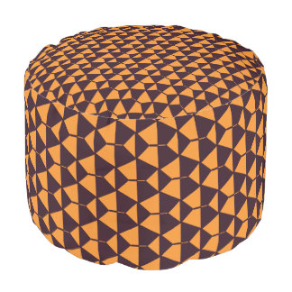 Orange geometric pattern Sturdy Spun Polyester Pouf