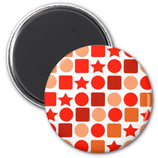 Orange Geometrics on Round Magnet