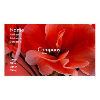 Orange Geranium blossom,  Customize by adding copy Business Card Template