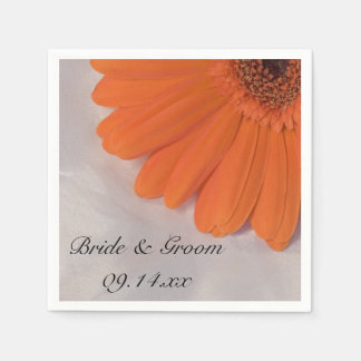 Orange Gerber Daisy and White Satin Wedding Disposable Napkin