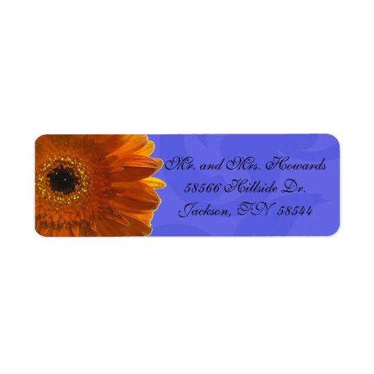 Orange Gerber Daisy Blue Return Address Label