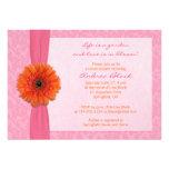 Orange Gerber Pink Floral Bridal Shower Invitation