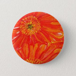 Orange Gerbera Daisies 2 Inch Round Button