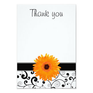 Orange Gerbera Daisy Black Scroll Flat Thank You Card