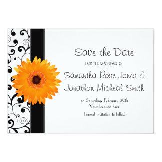 Orange Gerbera Daisy Black Scroll Save the Date Card