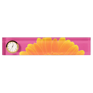 orange gerbera daisy - desk name plate with clock