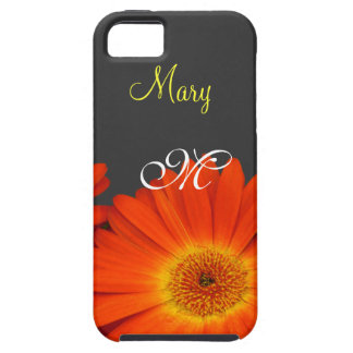 orange gerbera daisy flowers monogram case