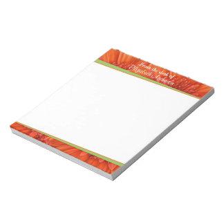 Orange Gerbera Daisy Green Personalized Notepad