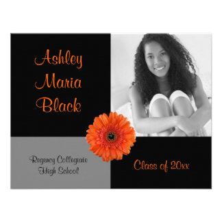 Orange Gerbera Daisy Photo Graduation Invitation