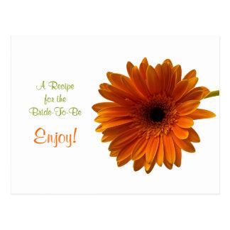 Orange Gerbera Daisy Recipe Card Postcard