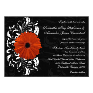 Orange Gerbera Daisy with Black and White Scroll Announcements