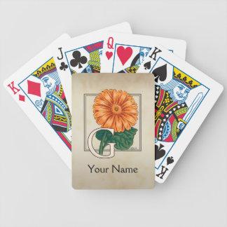 Orange Gerberas Personalized Floral Monogram Poker Deck