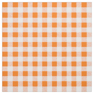 orange gingham check fabric