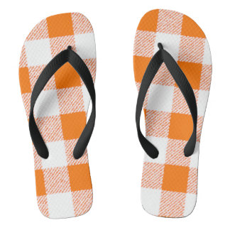 orange gingham check flip flops