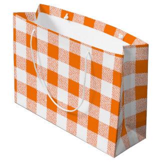 orange gingham check large gift bag
