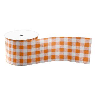 Orange Gingham Check Pattern Grosgrain Ribbon