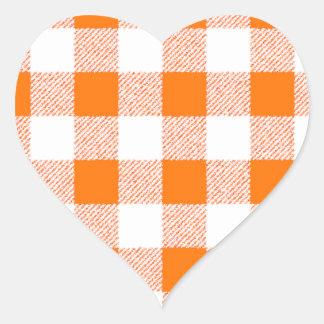 Orange Gingham Check Pattern Heart Sticker