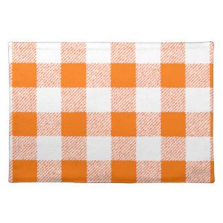 orange gingham check placemat