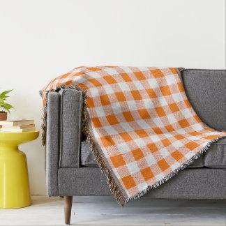orange gingham check throw blanket