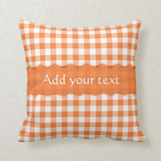 Orange Gingham Checkered  Pattern Personalized Throw Pillow