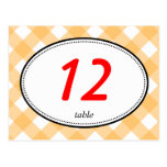 Orange gingham country rustic wedding table number postcard