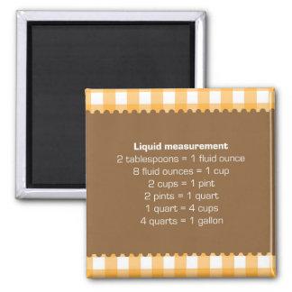 Orange gingham liquid measure chart kitchen helper square magnet