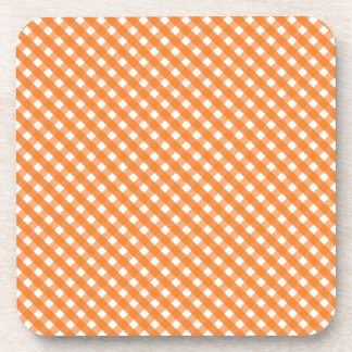 Orange Gingham Pattern Coaster