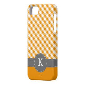 Orange Gingham Pattern Custom Monogram iPhone 5 Case